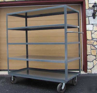 Akro Mils Heavy Duty Industrl Multi Shelf Rolling Cart
