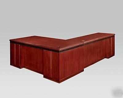 Large L Shaped Corner Desk Mahogany Finish Extra Long